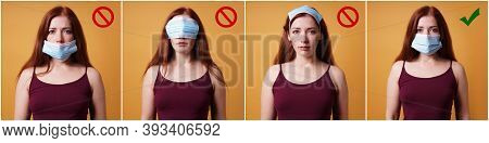 Humorous Instruction Collage On How To Wear A Protective Face Mask - Young Woman Showing Right And W