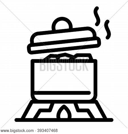Boiling Saucepan Icon. Outline Boiling Saucepan Vector Icon For Web Design Isolated On White Backgro