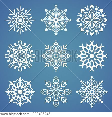 Snowflake Vector Icon Background Set. Winter Christmas Snowflake Crystal Element. Collection Of Snow