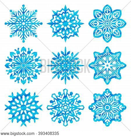Snowflake Vector Watercolor Icon Background Set. Winter Christmas Snowflake Crystal Element. Collect