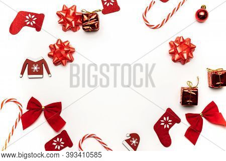 Christmas Wreath. Stocking, Gifts, Winter Tree, Ribbon And Bow In Shape Frame On White Background Fo