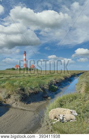 Famous Westerhever Lighthouse At North Sea In North Frisia,germany