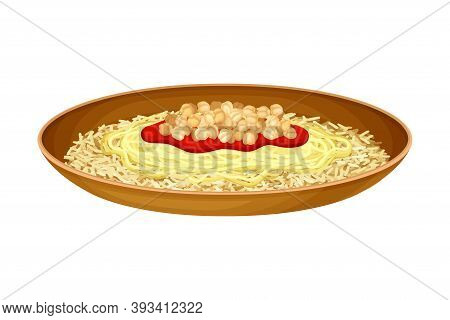 Kushari Or Rice Mixed With Pasta And Lentils As Egyptian Dish Vector Illustration