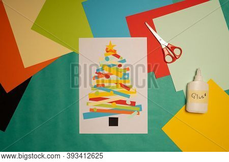Children Craft Christmas Tree. Step 7. Diy Christmas Tree Paper Craft. Christmas Craft Step By Step