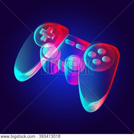 Gamepad - Abstract Retro Game Console Controller. Outline Vector Illustration Of Wireless Video Game