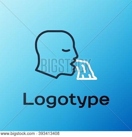 Line Vomiting Man Icon Isolated On Blue Background. Symptom Of Disease, Problem With Health. Nausea,