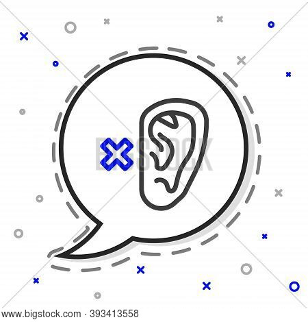 Line Deafness Icon Isolated On White Background. Deaf Symbol. Hearing Impairment. Colorful Outline C