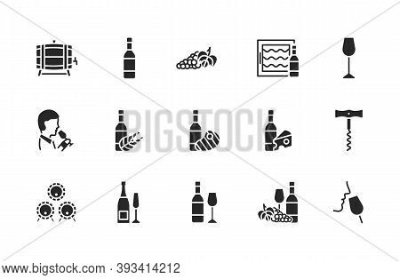 Wine Flat Glyph Icon Set. Vector Illustration Black Symbols About Different Types Of Wine For Fish,