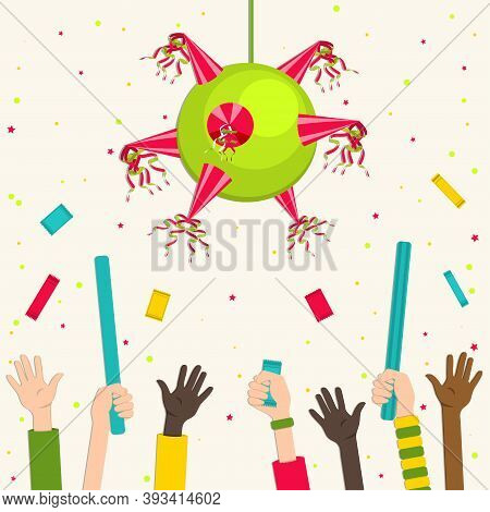 Mexican Classic Star-shaped Pinata. Kids Stuff Pinata. Children's Hands Reach For Sweets. Vector Ill