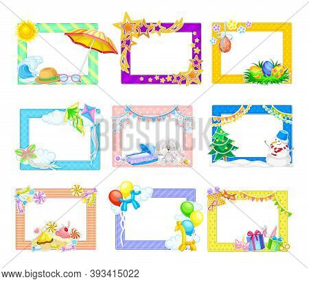 Horizontal Photo Frame Or Picture Frame With Decorated Border Vector Set
