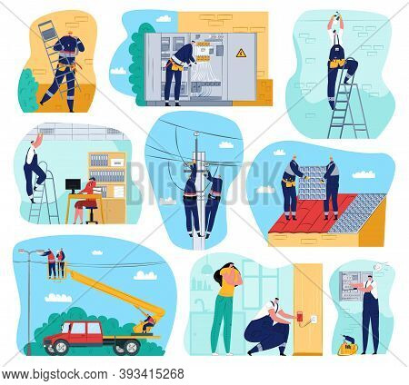 Electricity Works Set Of Vector Illustrations. Electric Works And Equipment, Electricians Performing
