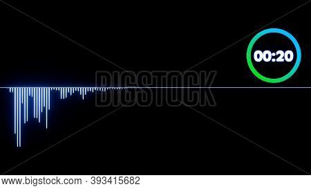 Audio Spectrum Waveform, Abstract 3d Sound Waves With Colorful Loading Infographic Countdown Clock ,