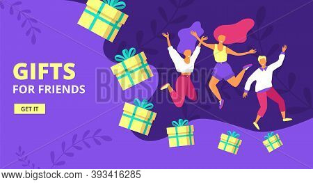 Loyalty Program, Refer Friend Flat Vector Illustration. Referral Marketing, Promotion Method. Group