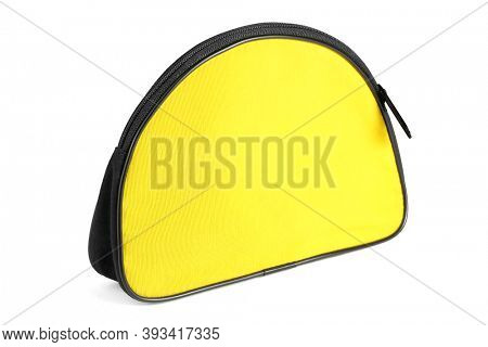 Small Yellow Travelling Toiletries Bag on White Background