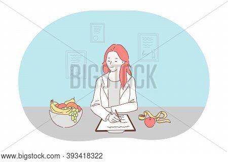 Healthy Food, Dieting, Professional Nutritionist Concept. Smiling Red Haired Woman Doctor Nutritioni