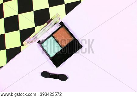 Palette Of Eyeshadows. Shimmer Eyeshadows . Autumn Eyeshadow Palette. Beauty And Fashion Concept. Co