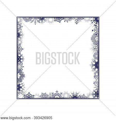 Winter Holiday White Photo Frame With Snowflakes And Shadow. Empty Square Border Template. Jpeg Illu