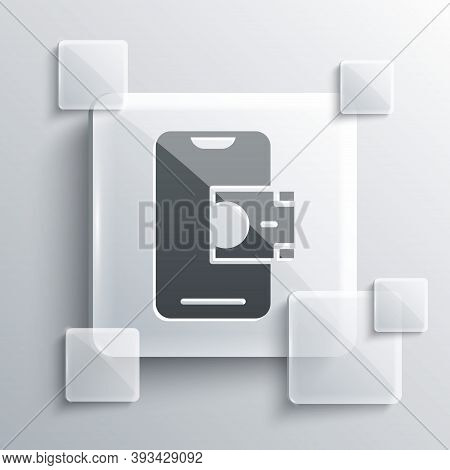 Grey Mobile Banking Icon Isolated On Grey Background. Transfer Money Through Mobile Banking On The M
