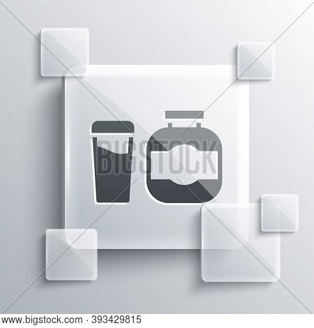 Grey Sports Nutrition Bodybuilding Proteine Power Drink And Food Icon Isolated On Grey Background. S