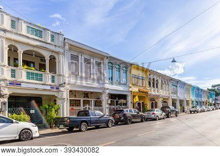 Phuket, Thailand - May 5, 2015 : Old Building Chino Portuguese Style Landmark In Phuket On May 5, 20