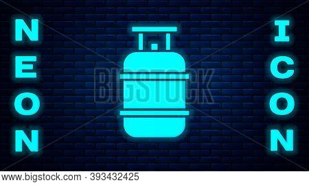 Glowing Neon Propane Gas Tank Icon Isolated On Brick Wall Background. Flammable Gas Tank Icon. Vecto