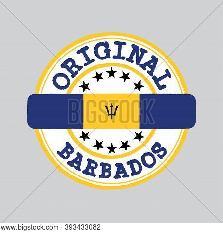 Vector Stamp Of Original Logo With Text Barbados And Tying In The Middle With Nation Flag. Grunge Ru