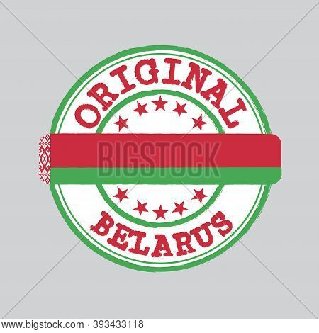 Vector Stamp Of Original Logo With Text Belarus And Tying In The Middle With Nation Flag. Grunge Rub