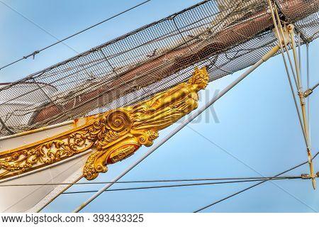 Szczecin, Poland, June 2019 Closeup On Figurehead Or Ship Bow Figure Of Famous Tall Ship Juan Sebast