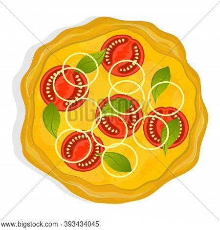 Vegetarian Pizza With Tomatoes, Onions And Basil Isolated On A White Background. A Dish From Italian
