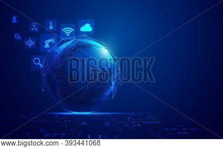 Concept Of Internet Of Things Or Iot, Digital Globe With Futuristic Element