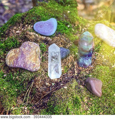 Gemstones Fluorite, Quartz Crystal And Various Stones. Magic Rock For Mystic Ritual, Witchcraft Wicc