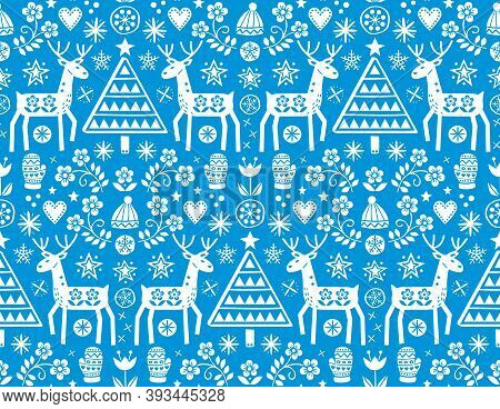 Christmas Folk Art Vector Seamless Pattern With Reindeer, Flowers, Xmas Tree And Winter Clothes Desi