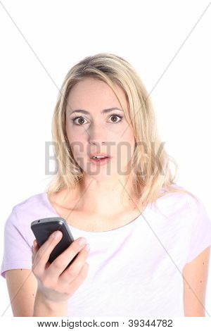 Dismayed Woman Reading A Text Message