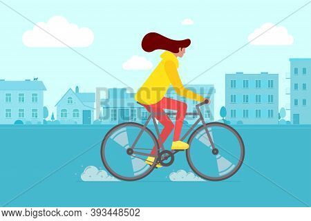 Hipster Female Riding Bike On City Street. Young Woman Cyclist Leisure Activity In Town Road. Stylis
