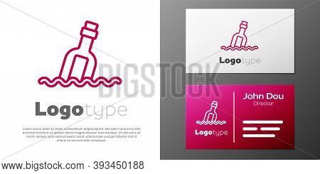 Logotype Line Glass Bottle With A Message In Water Icon Isolated On White Background. Letter In The