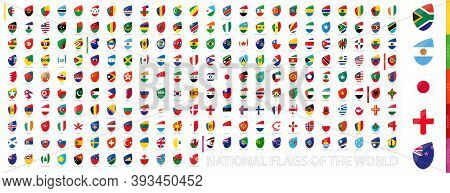All Official National Flags Of The World In Rugby Style. Big Rugby Icon Set With Preview Flag Of Sou