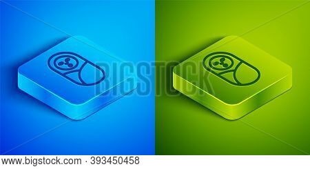 Isometric Line Newborn Baby Infant Swaddled Or Swaddling Icon Isolated On Blue And Green Background.