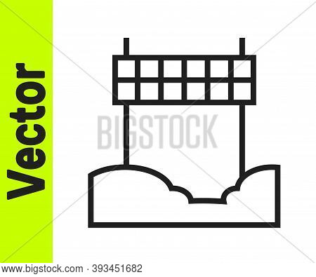 Black Line Ribbon In Finishing Line Icon Isolated On White Background. Symbol Of Finish Line. Sport