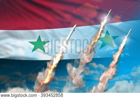 Syrian Arab Republic Nuclear Warhead Launch - Modern Strategic Nuclear Rocket Weapons Concept On Blu