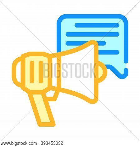 Advert Loudspeaker Color Icon Vector Illustration Sign