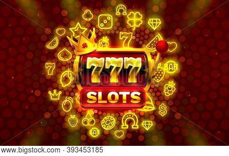 777 Slots Neon Icons, Casino Slot Sign Machine, Night Vegas. Vector