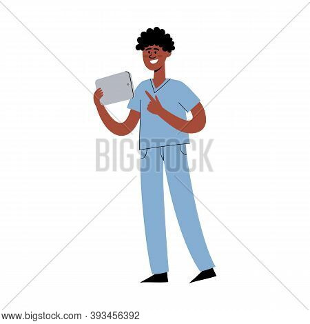 Vector Flat Set Of Standing African Nurse With Laptop