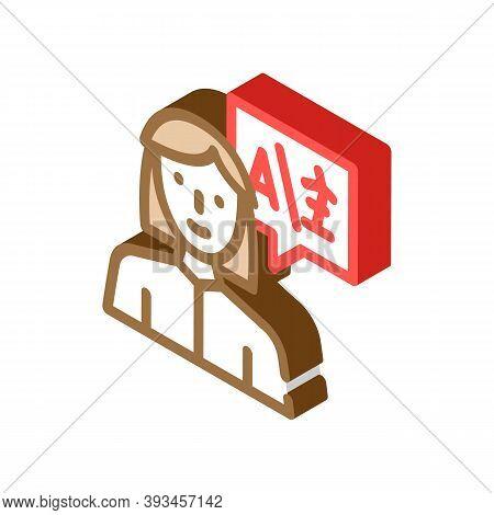 Interpreter Woman Job Isometric Icon Vector Illustration