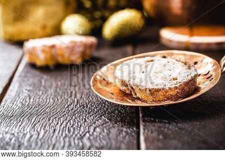 Rabanada, Brazilian Christmas Dessert, Slice Of Fried Bread With Cinnamon And Sugar In Antique Coppe