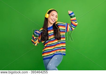 Portrait Of Attractive Cheerful Dreamy Girl Enjoying Listening Melody Dancing Isolated Over Vibrant