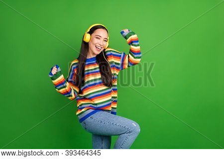 Portrait Of Attractive Cheerful Girl Listening Melody Dancing Rest Having Fun Isolated Over Bright S