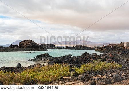 Isla Lobos, Fuerteventura, Spain: 2020 October 3: Small Beach In Isla Lobos In Fuerteventura In The
