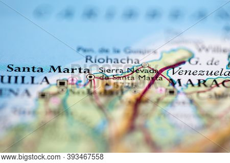 Shallow Depth Of Field Focus On Geographical Map Location Of Mount Sierra Nevada De Santa Marta In C