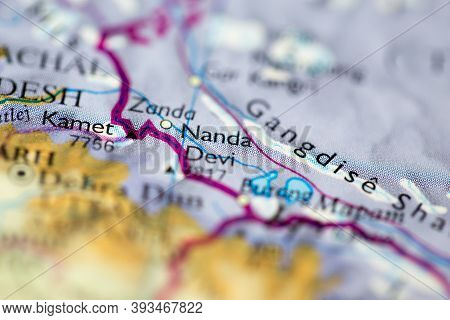 Shallow Depth Of Field Focus On Geographical Map Location Of Mount Nanda Devi In India Asia Continen