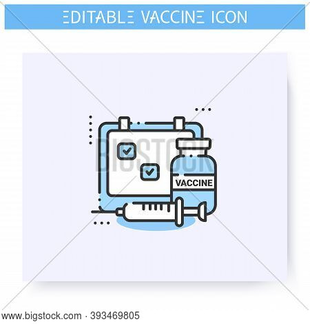Vaccine Schedule Line Icon. Vaccination Timetable.clinical Trial.cure Search, Vaccine Development.st